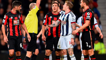 James McClean is sent off by referee Mike Dean during West Brom's defeat against Bournemouth Photo: Laurence Griffiths/Getty Images