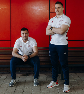 Brothers in arms: Niall and Rory Scannell, pictured at Munster's High Performance Centre in UL, are keen to win silverware with the province. Photo: Don Moloney