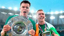 James Ryan, left, with the Triple Crown trophy, and Dan Leavy of Ireland, with the Six Nations trophy. Photo: Brendan Moran/Sportsfile