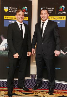 NO REPRO FEE.  Leinster's Ian Madigan, left, and Cian Healy  pictured at the Hibernia College IRUPA rugby Awards in the Burlington Hotel.Photo:Leon Farrell/Photocall Ireland.