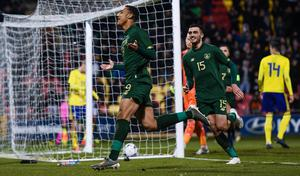Adam Idah celebrates after scoring for Ireland U21s with team-mate Troy Parrott during the European U21 Championship qualifier against Sweden at Tallaght Stadium last November. Photo: Harry Murphy/Sportsfile