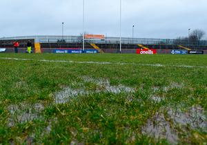 A general view of the pitch conditions before the Tyrone v Dublin clash