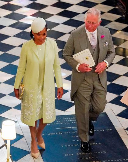 The Prince of Wales and Doria Ragland, mother of the bride, depart from St George's Chapel in Windsor Castle after the wedding of Prince Harry and Meghan Markle