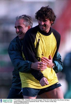 9 November 1996;  Republic of Ireland manager Mick McCarthy tackles Roy Keane during a squad training session at Lansdowne Road.  Soccer. Picture credit; Ray McManus/SPORTSFILE