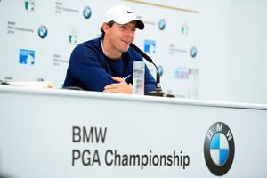 Rory McIlroy talks to the media during a press conference ahead of the BMW PGA Championship Pro-Am at Wentworth Golf Club on September 18, 2019 in Virginia Water, United Kingdom. (Photo by Harry Trump/Getty Images)