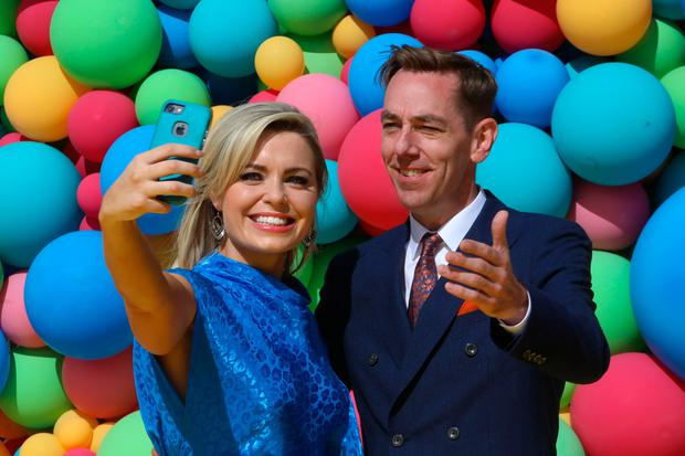 16/8/2018 RTE New Season Launch - L-R Anna Geary takes a selfie with Ryan Tubridy at a photocall in Donnybrook yesterday(Thurs) to announce the new season .Pic: Collins