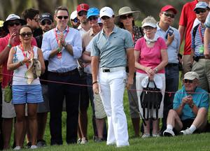 Rory McIlroyreacts on the 13th hole during the third round of the HSBC Golf Championship in Abu Dhabi