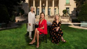 DRAMA: Actresses Juliet Stevenson, Lena Olin and Julia Stiles in front of the mansion used in the television series 'Riviera'