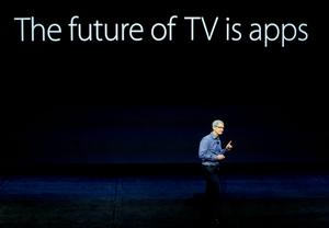 Apple CEO Tim Cook discusses the Apple TV product at the Apple event in the Bill Graham Civic Auditorium in San Francisco, Wednesday, Sept. 9, 2015. (AP Photo/Eric Risberg)
