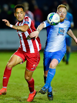Will Seymore of Sligo Rovers in action against Ryan Connolly of Finn Harps. Photo by Oliver McVeigh/Sportsfile