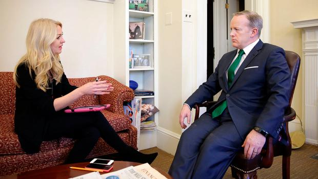 US Government press secretary Sean Spicer speaks to Niamh Horan in his office in the White House. Photo: Gerry Mooney