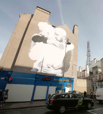 Joe Caslin's giant mural on the corner of Dame Street in 2015