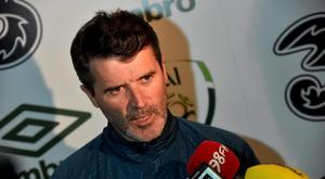 25 March 2015; Republic of Ireland assistant manager Roy Keane during a mixed zone. Aviva Stadium, Dublin. Picture credit: David Maher / SPORTSFILE