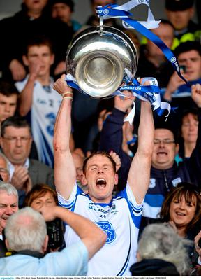 3 May 2015; Kevin Moran, Waterford, lifts the cup. Allianz Hurling League, Division 1 Final, Cork v Waterford. Semple Stadium, Thurles, Co. Tipperary. Picture credit: Cody Glenn / SPORTSFILE