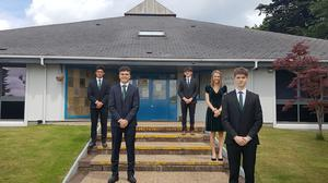The Irish Schools debating team (l-r) Leon Reilly (4th year) from CBC Monkstown, Matthew Mallen (6th year) from CBC Cork, Jack Mulvhill (4th year) from Terenure College, Adrianne Ward (6th year) from Loreto College St Stephen's Green and Jack Palmer (6th year) from CBC Monkstown