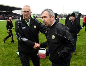Donie Buckley with Kerry manager Peter Keane. Photo: Stephen McCarthy/Sportsfile