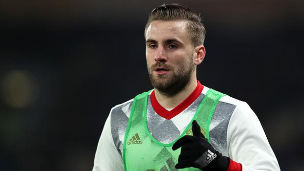 HULL, ENGLAND - JANUARY 26:  Luke Shaw of Manchester United warms up during the EFL Cup Semi-Final second leg match between Hull City and Manchester United at KCOM Stadium on January 26, 2017 in Hull, England.  (Photo by Matthew Ashton - AMA/Getty Images)