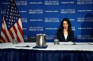 Lawyer Amal Clooney attends a press conference at the National Press Club April 30, 2015 in Washington, DC. Laila Ali wife of former Maldives president Mohamed Nasheed spoke about attempts to get her husband released from prison. AFP PHOTO/BRENDAN SMIALOWSKIBRENDAN SMIALOWSKI/AFP/Getty Images