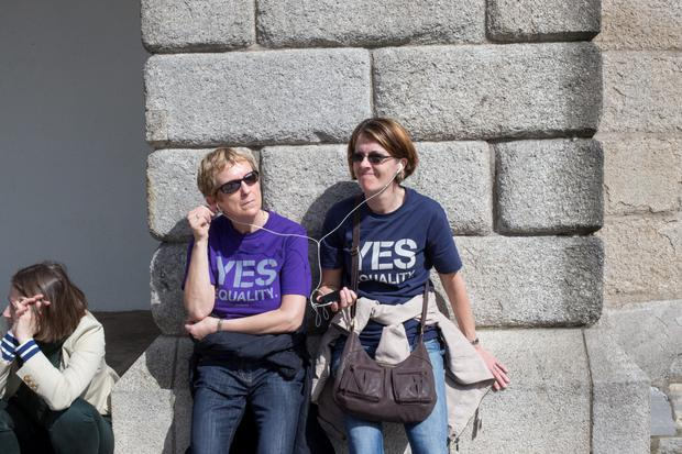 Waiting for the reults of same-sex marriage referendum at Dublin Castle. Pic:Mark Condren