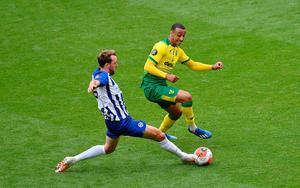Brighton and Hove Albion's Dale Stephens (left) and Norwich City's Ben Godfrey (right) battle for the ball. Photo: Justin Setterfield/NMC Pool/PA Wire