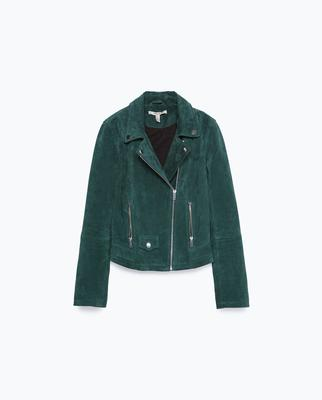Dark green suede biker jacket, €79.95 at Zara