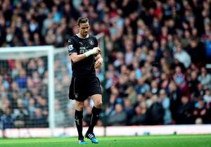Burnley's Michael Duff is sent off during the Barclays Premier League match at Upton Park