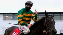 Mark Walsh gives the thumbs up after riding Early Doors to victory in the Galway Plate. Photo: Niall Carson/PA Wire