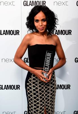 Kerry Washington with her International TV Actress award at the Glamour Women of the Year Awards 2015 held at Berkeley Square Gardens