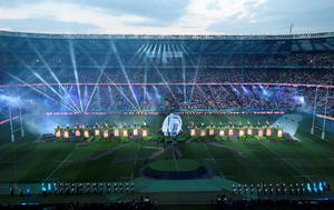 Light and firework show at the opening ceremony of the Rugby World Cup. Andrew Matthews/PA Wire.