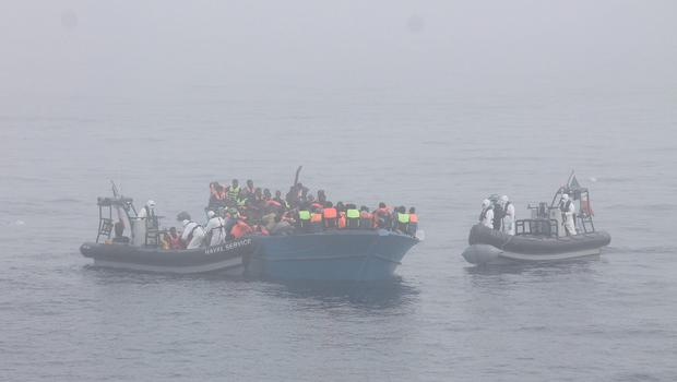 The LÉ EITHNE located and rescued a barge with approximately 310 persons on board, 40 km north of Libya. Pic: Defence Forces