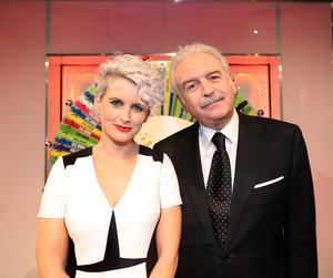 Marty Whelan and Sinead kennedy on the National Lottery Winning Streak Game Show. Pic: Mac innes photography