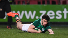 Andrew Smith of Ireland goes over to score his side's fourth try during the U20 Six Nations Rugby Championship win against Scotland at Irish Independent Park in Cork. Photo by Harry Murphy/Sportsfile