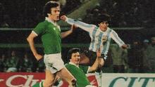 Diego Maradona in action for Argentina against Limerick's Pat Nolan and Dundalk's Paddy Dunning who were part of the League of Ireland XI side that travelled to South America in April 1980
