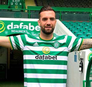 New Celtic signing Shane Duffy poses for a photo at Celtic Park