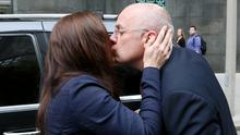 David and Lorraine Drumm kiss outside court in Boston during his bankruptcy petition in May of last year.