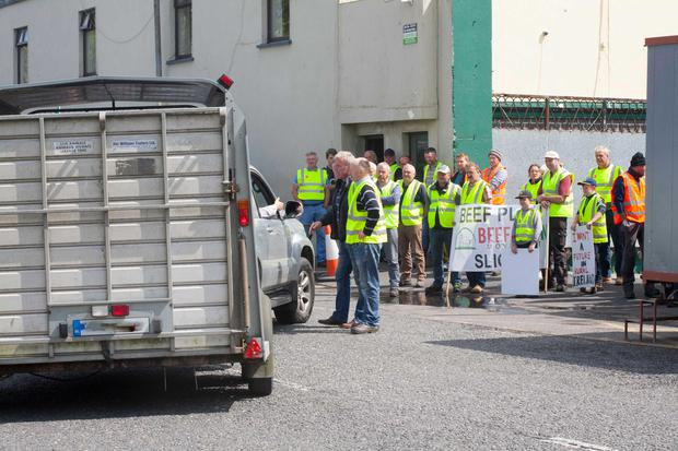 Protesters outside Dawn Meats Ballyhaunis, Co Mayo. Photo Brian Farrell