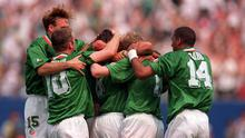 Ray Houghton is congratulated by team-mates from left, Tommy Coyne, John Sheridan, Steve Staunton and Phil Babb, after scoring Ireland's winning goal against Italy at Giants Stadium, New Jersey, USA.  World Cup Finals 1994. Picture credit: Ray McManus / SPORTSFILE