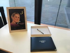 A book of condolence which has been opened at the BBC in Salford for weather presenter Dianne Oxberry (BBC)