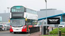 A completed Bus Eireann bus leaves the Wrightbus plant in Ballymena, Northern Ireland Photo credit: Liam McBurney/PA Wire