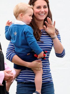 Catherine Duchess of Cambridge attends the Gigaset Charity Polo Match with Prince George of Cambridge at Beaufort Polo Club on June 14, 2015 in Tetbury, England.  (Photo by Chris Jackson/Getty Images)