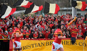 CBC supporters before the game. SEAT Munster Schools Senior Cup, Round 1, Crescent College v CBC. Tom Clifford Park, Limerick (Diarmuid Greene / SPORTSFILE)
