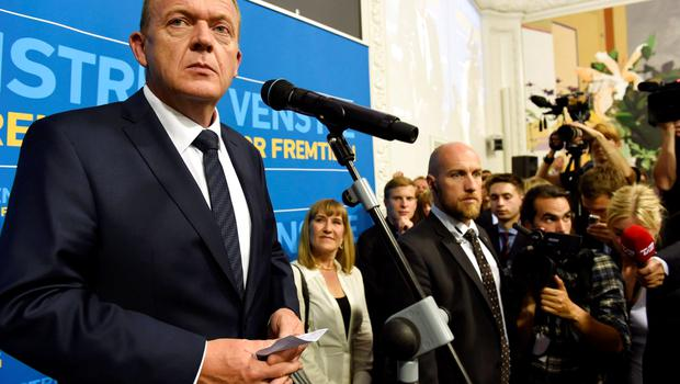 Danish opposition leader Lars Lokke Rasmussen is pictured in Copenhagen, Denmark, early June 19, 2015. Rasmussen said early Friday morning his Liberal party and other centre-right groups have an opportunity to form a new government after Prime Minister Helle Thorning-Schmidt conceded defeat in a parliamentary election. REUTERS/Claus Bech/Scanpix Denmark