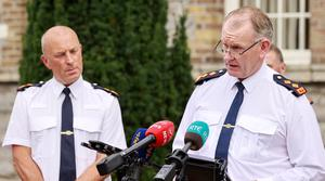 Assistant Commissioner John Twomey and Chief Supt Christy Mangan outside Garda HQ after Aaron Brady was found guilty of the murder of Det Garda Adrian Donohoe. Picture: Gerry Mooney.