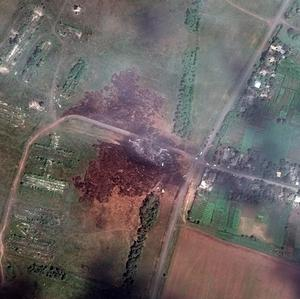 A satellite image shows the crash site of Malaysia Airlines flight MH17 in Ukraine