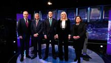 (left to right) Fianna Fail leader Micheal Martin, Presenter David McCullagh, Fine Gael leader Leo Varadkar, Presenter Miriam O'Callaghan and Sinn Fein President Mary Lou McDonald at the final TV leaders' debate at the RTE studios in Donnybrook, Dublin. PA Photo. Picture date: Tuesday February 4, 2020. See PA story IRISH Election. Photo credit should read: Niall Carson/PA Wire