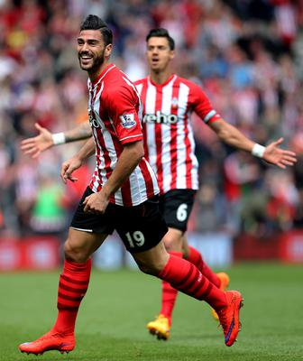 "Football - Southampton v Tottenham Hotspur - Barclays Premier League - St Mary's Stadium - 25/4/15 Southampton's Graziano Pelle celebrates scoring their second goal Action Images via Reuters / Paul Childs Livepic EDITORIAL USE ONLY. No use with unauthorized audio, video, data, fixture lists, club/league logos or ""live"" services. Online in-match use limited to 45 images, no video emulation. No use in betting, games or single club/league/player publications.  Please contact your account representative for further details."