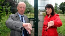 Minister Shane Ross and Independent councillor Deirdre Donnelly give the thumbs down to the proposed site adjacent to the grounds of Oatlands College and Primary School