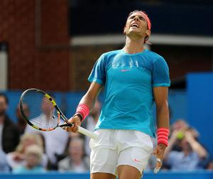 Spain's Rafael Nadal looks dejected during his first round defeat