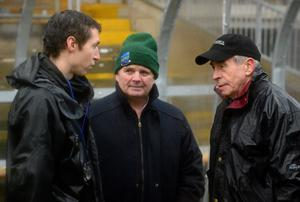 From left to right, Fermanagh assistant manager Raymond Johnston, Fermanagh GAA Chairman Patsy Dolan, and Fermanagh manager Peter McGrath