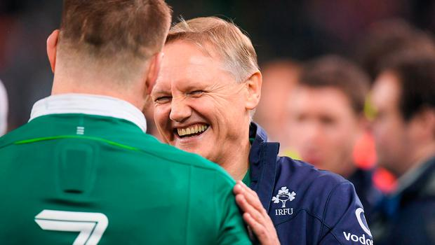 18 March 2017; Ireland head coach Joe Schmidt and Sean O'Brien of Ireland after the RBS Six Nations Rugby Championship match between Ireland and England at the Aviva Stadium in Lansdowne Road, Dublin. Photo by Brendan Moran/Sportsfile